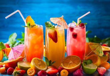 summer drinks in glasses