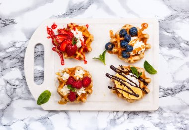 Belgian waffles with berries
