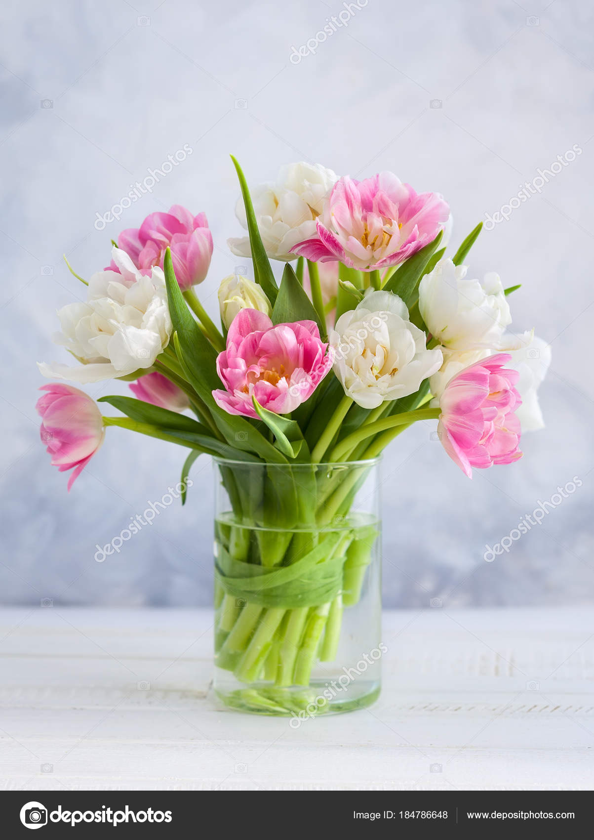 Beautiful Flowers Bouquet Vase Wooden Table Tulips Roses Eustoma ...