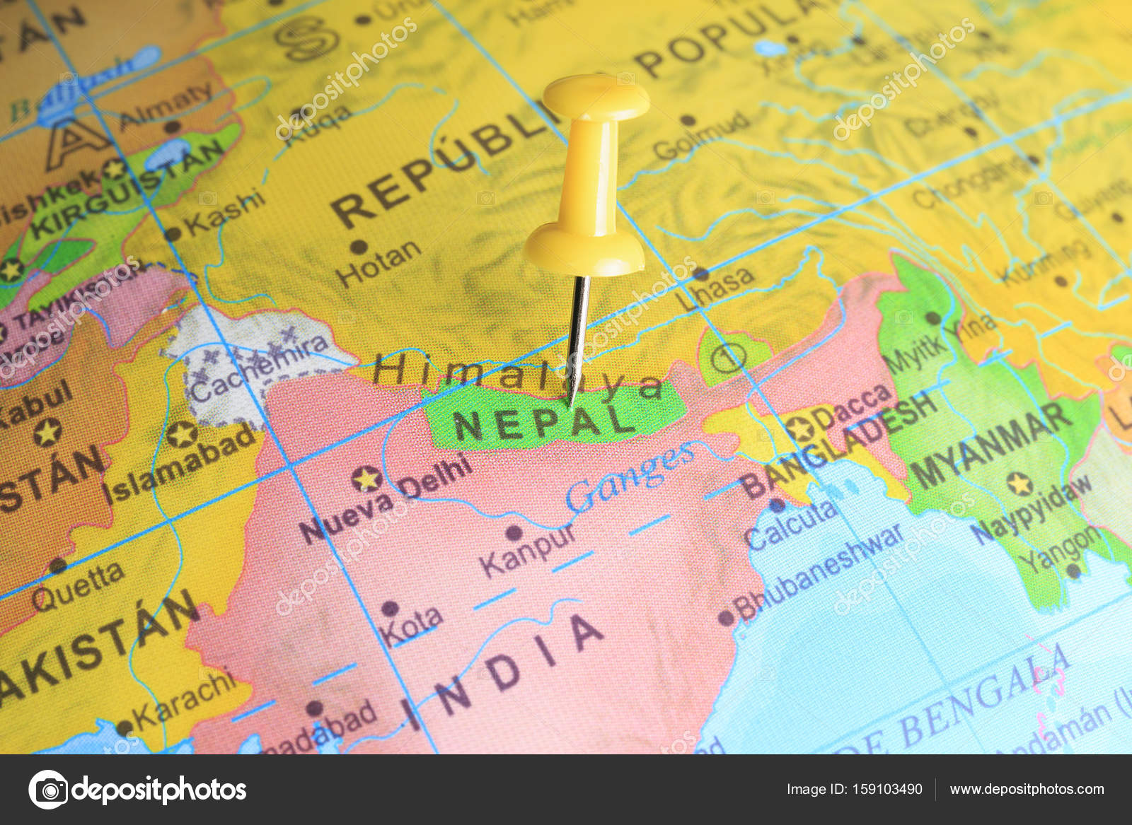Nepal pinned on a map of Asia — Stock Photo © nachrc2001@gmail.com ...