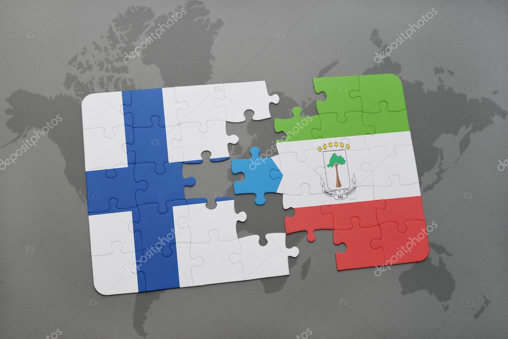 puzzle with the national flag of finland and equatorial guinea on a ...