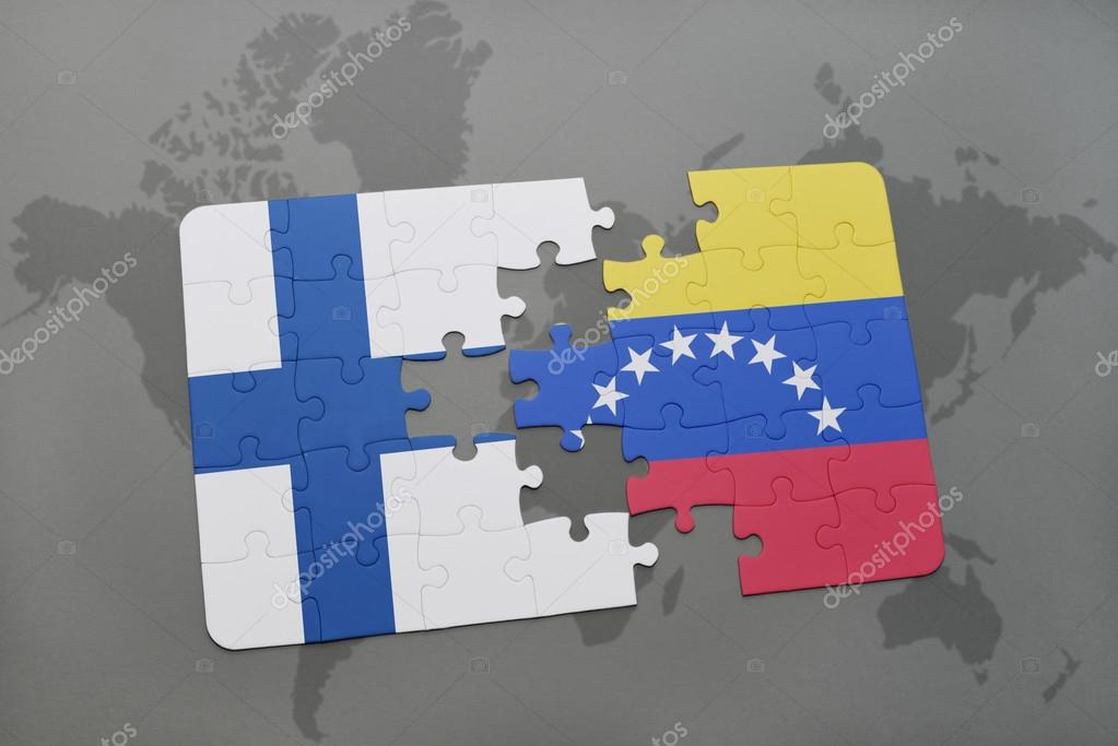 Puzzle with the national flag of finland and venezuela on a world puzzle with the national flag of finland and venezuela on a world map background 3d illustration foto de ruletkka gumiabroncs Gallery