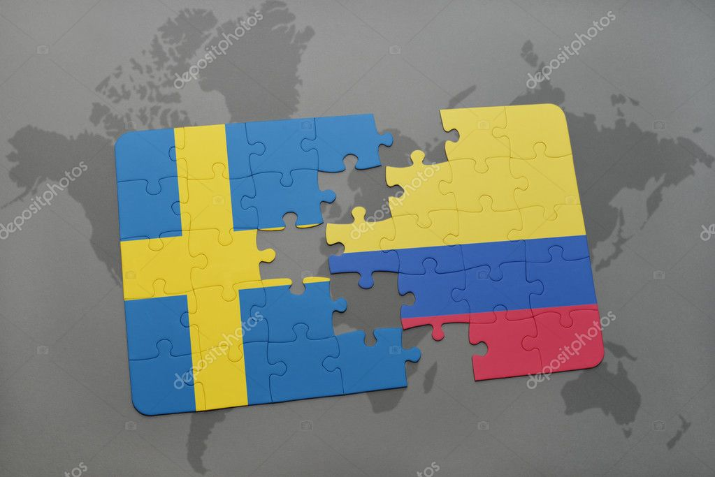 Puzzle with the national flag of sweden and colombia on a world map puzzle with the national flag of sweden and colombia on a world map background 3d illustration foto de ruletkka gumiabroncs Image collections