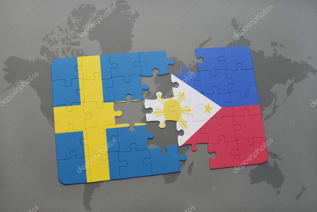 puzzle with the national flag of sweden and philippines on a world ...