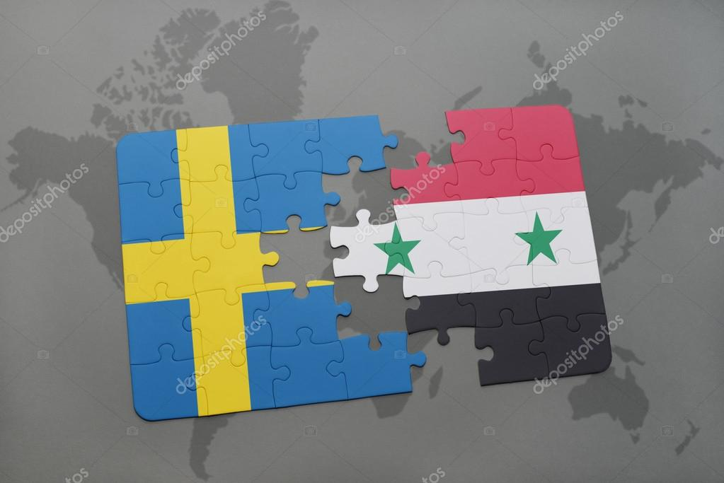puzzle with the national flag of sweden and syria on a world map ...