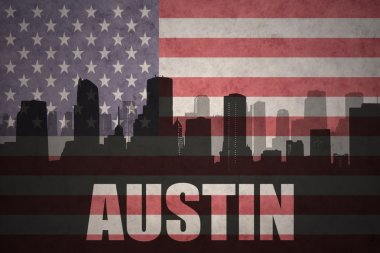abstract silhouette of the city with text Austin at the vintage american flag