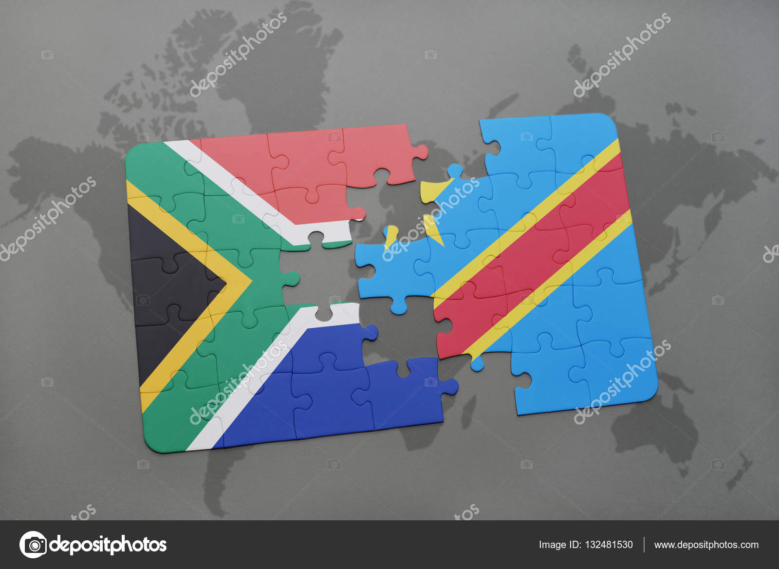 Puzzle with the national flag of south africa and democratic
