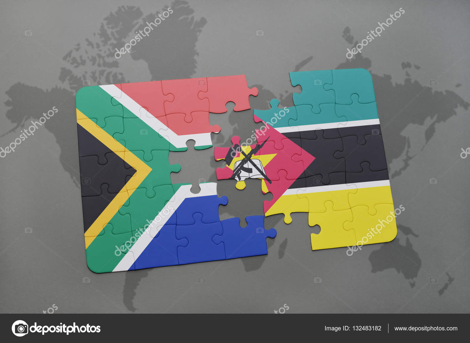 Puzzle with the national flag of south africa and mozambique on a puzzle with the national flag of south africa and mozambique on a world map gumiabroncs Images