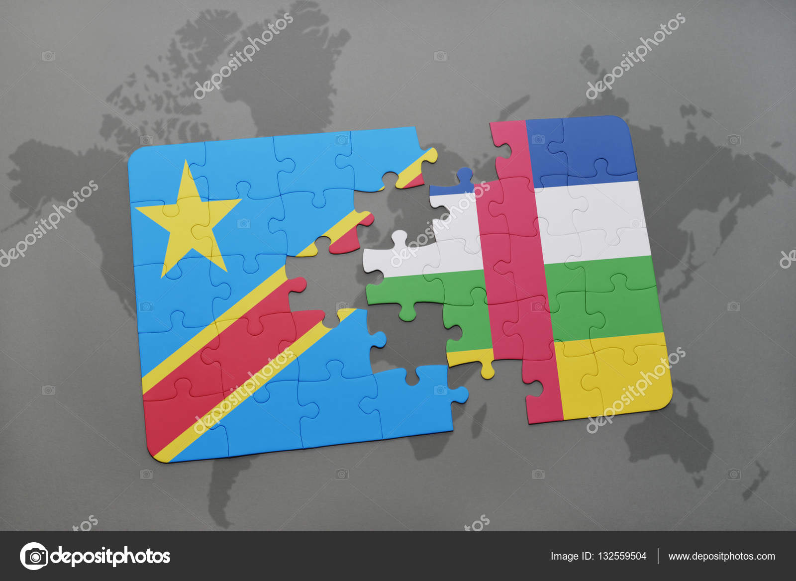 Puzzle with the national flag of democratic republic of the