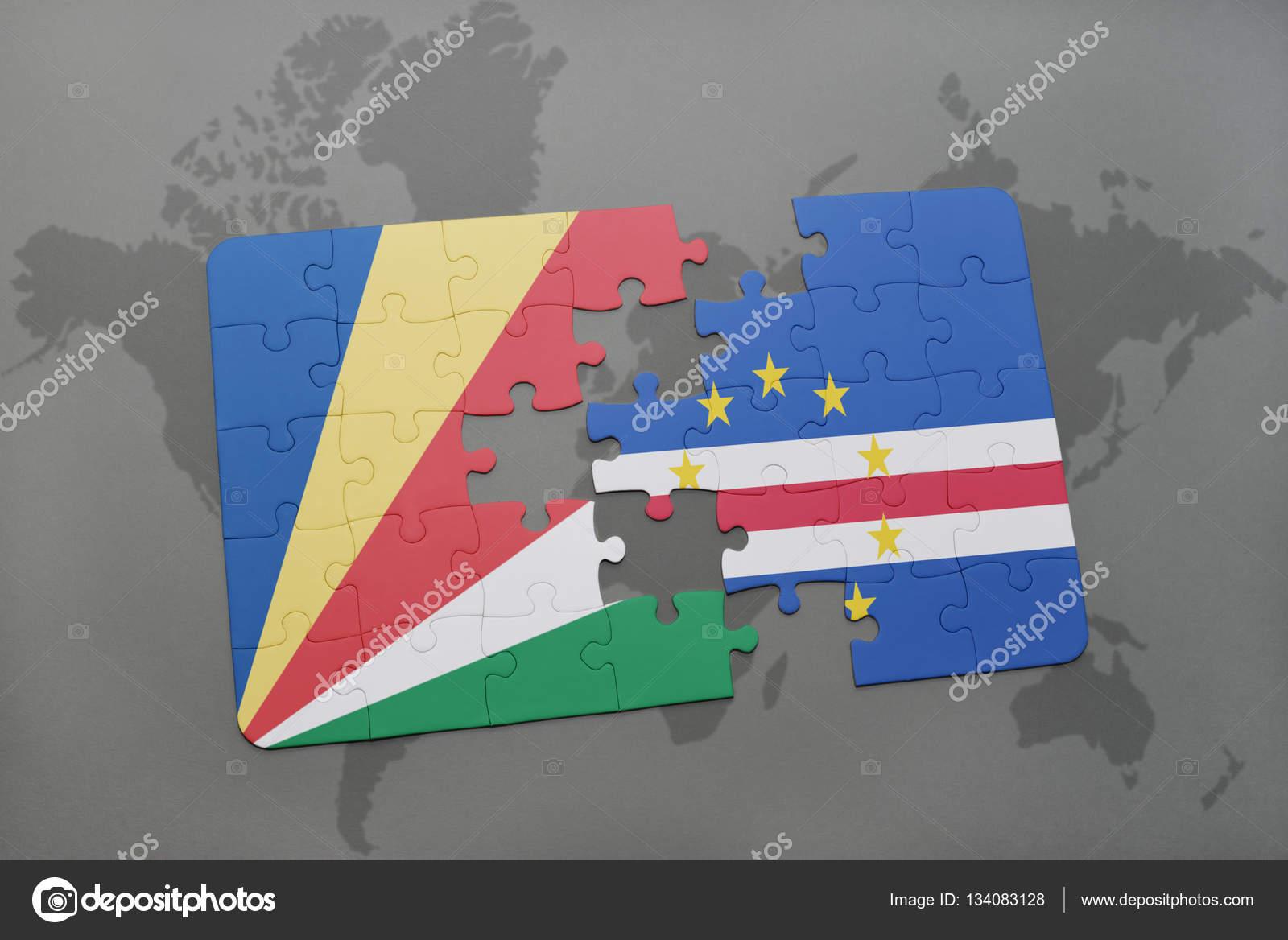 Rompecabezas Con La Bandera Nacional De Seychelles Y De Cabo