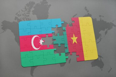 puzzle with the national flag of azerbaijan and cameroon on a world map