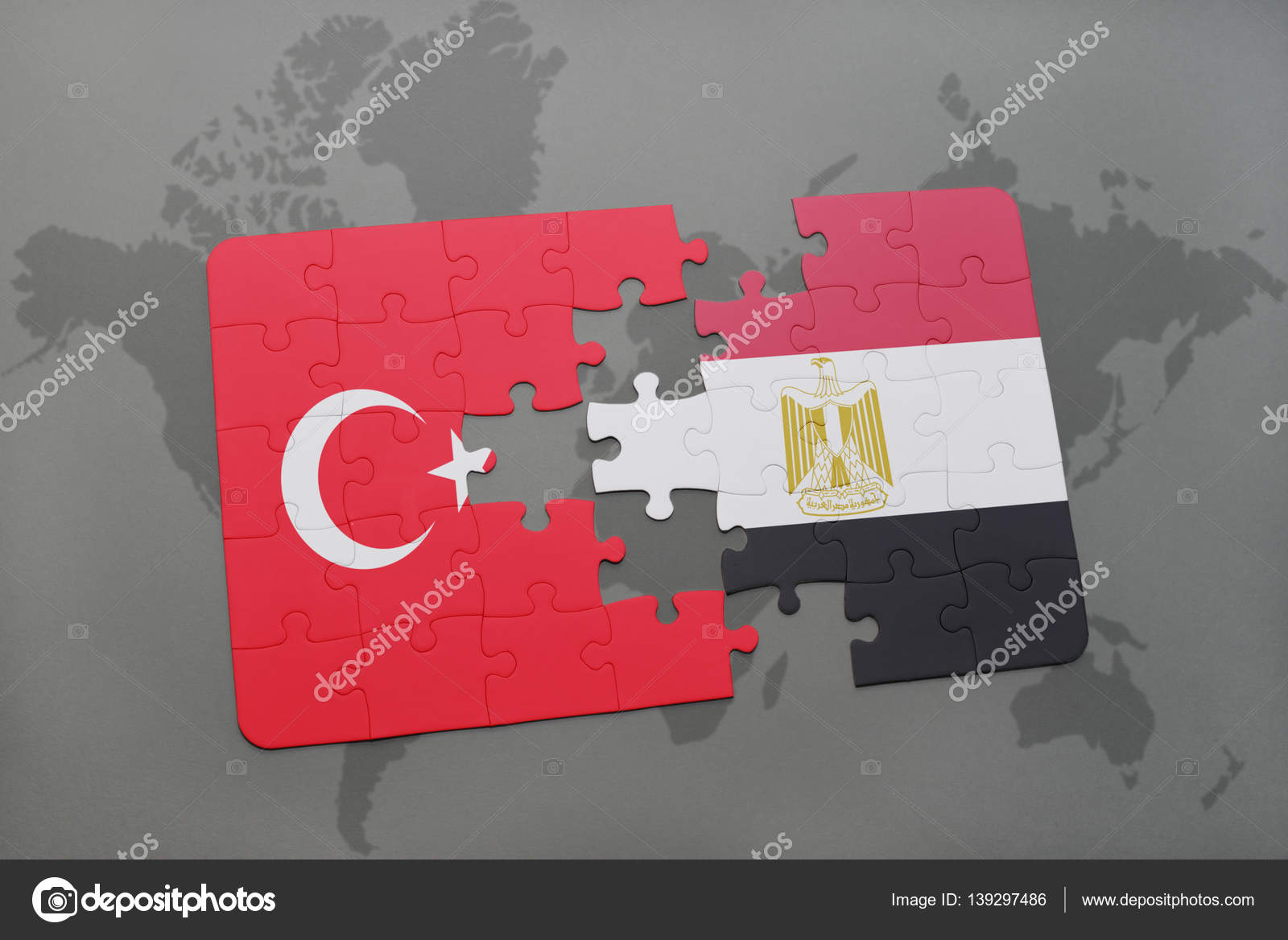 Puzzle with the national flag of turkey and egypt on a world map puzzle with the national flag of turkey and egypt on a world map stock photo gumiabroncs Choice Image