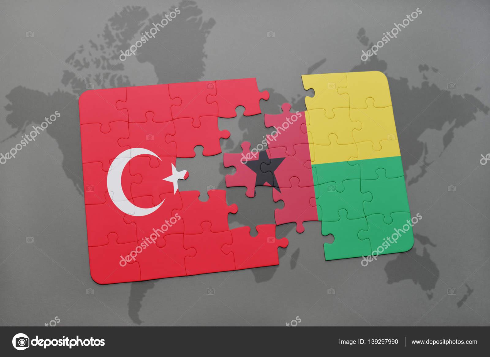 パズル世界地図トルコとギニア ...
