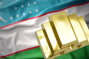 shining golden bullions on the uzbekistan flag