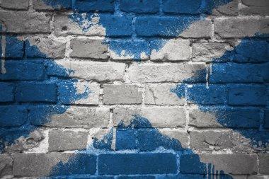 """Картина, постер, плакат, фотообои """"нарисованный национальный флаг шотландии на кирпичной стене """", артикул 141971474"""