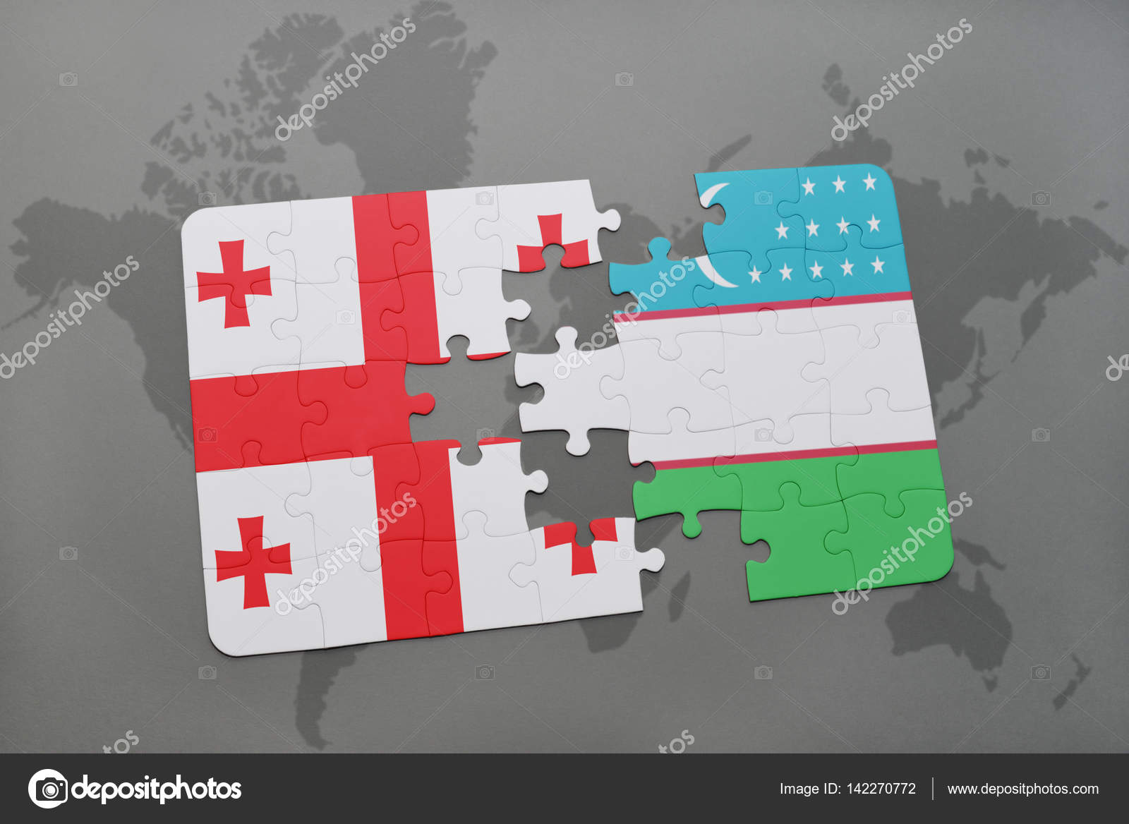 Puzzle with the national flag of georgia and uzbekistan on a world puzzle with the national flag of georgia and uzbekistan on a world map stock photo gumiabroncs Image collections