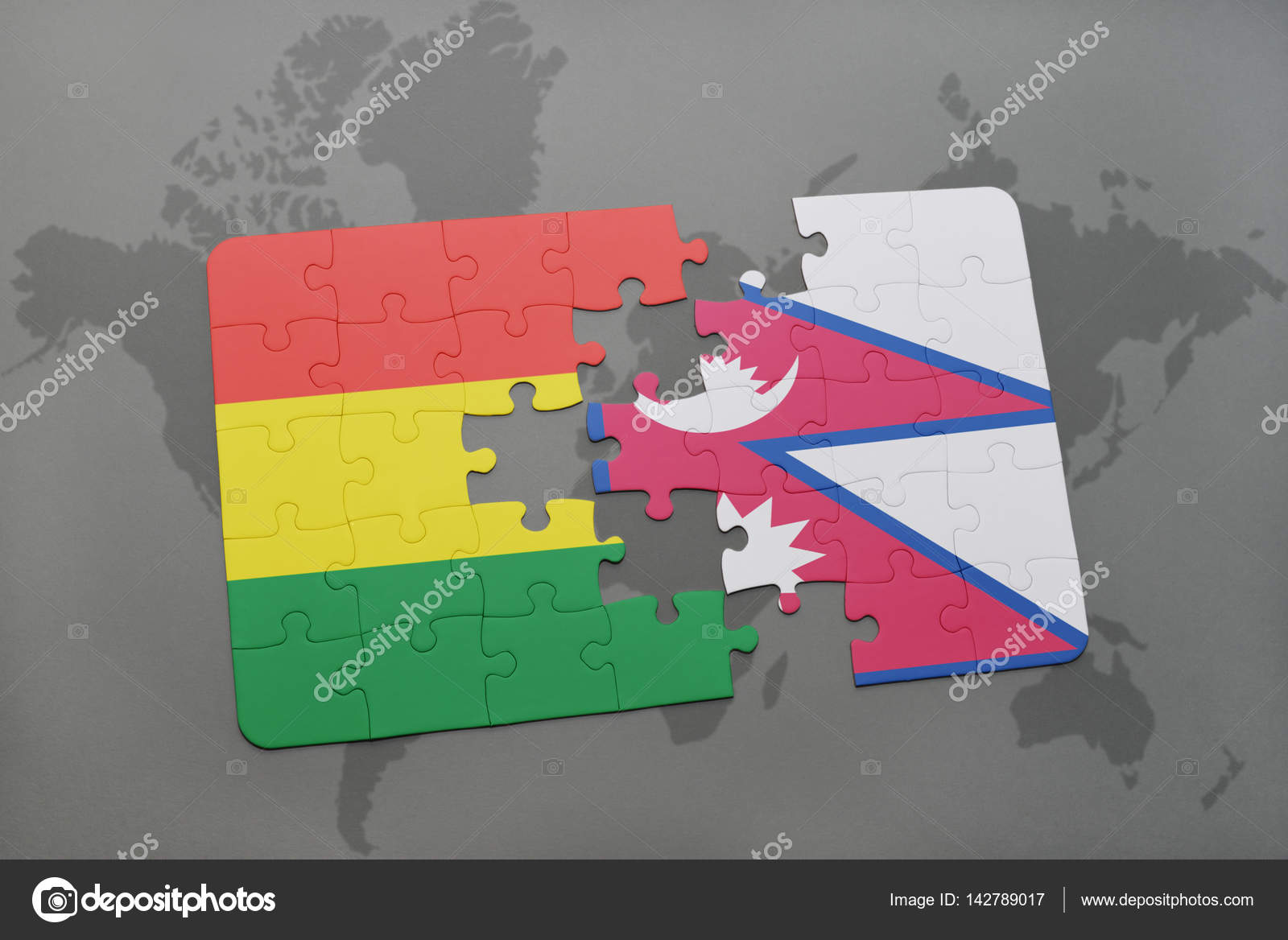 puzzle with the national flag of bolivia and nepal on a world map ...