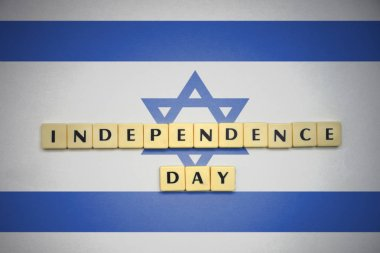 letters with text independence day on the national flag of israel.