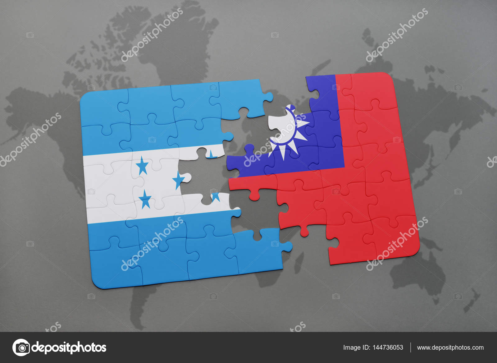 puzzle with the national flag of honduras and taiwan on a world map stock photo