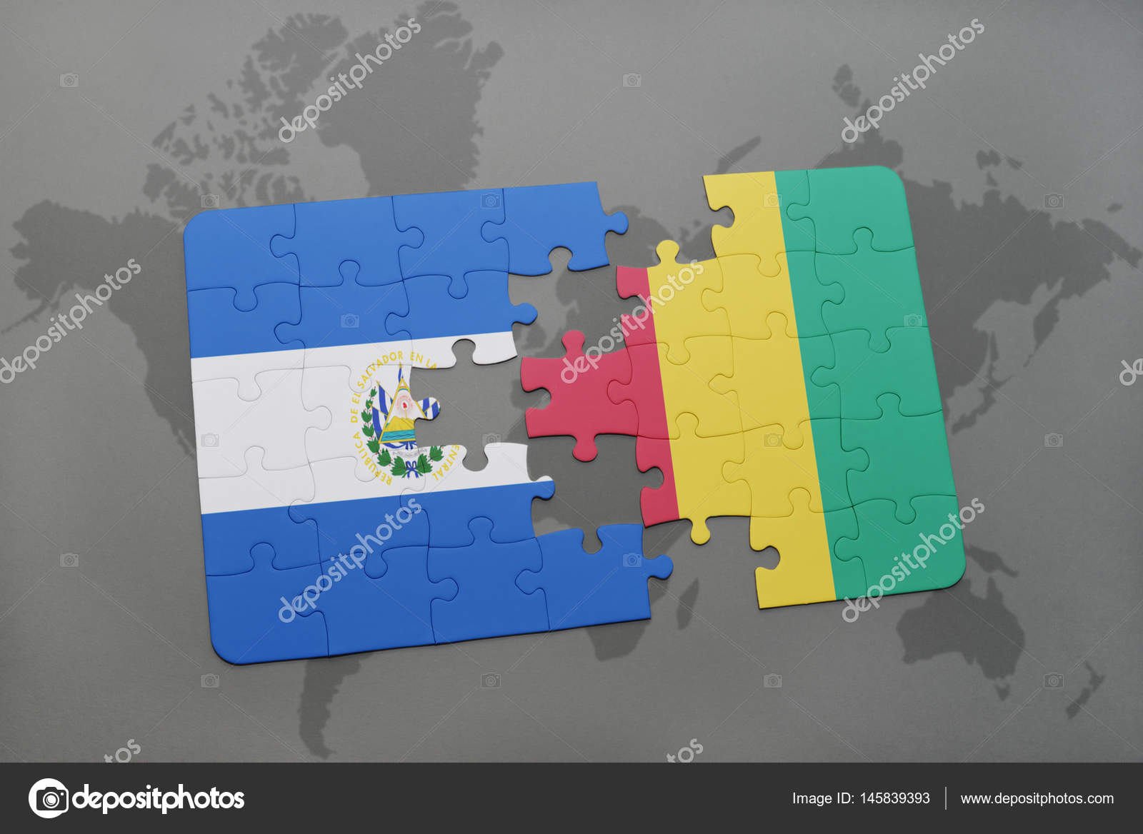 Puzzle with the national flag of el salvador and guinea on a world puzzle with the national flag of el salvador and guinea on a world map stock gumiabroncs Image collections