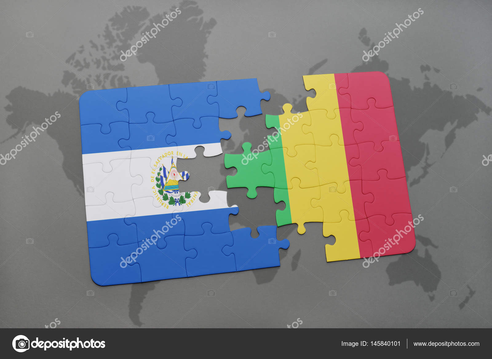 Puzzle with the national flag of el salvador and mali on a world map puzzle with the national flag of el salvador and mali on a world map stock gumiabroncs Gallery