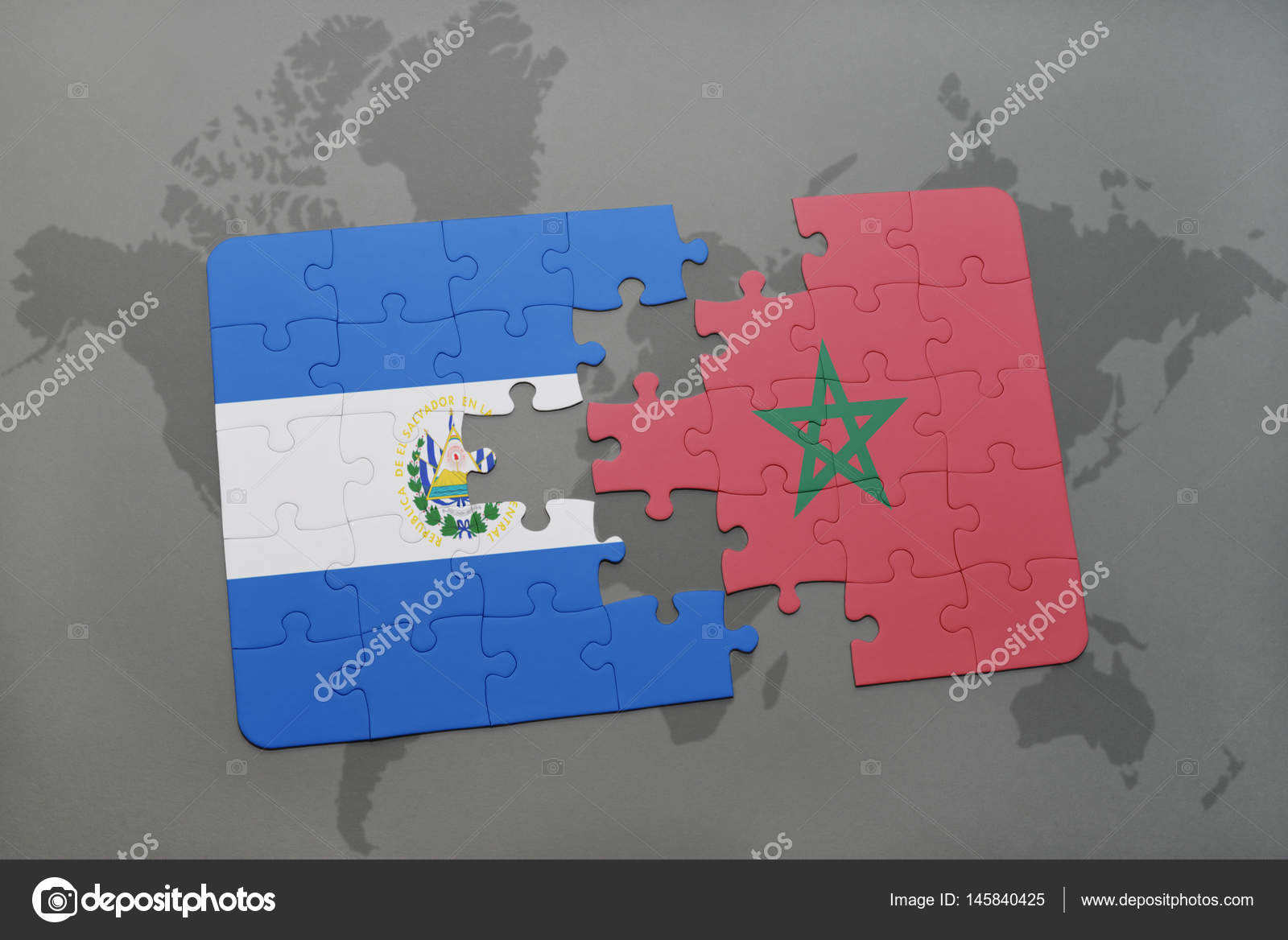 Puzzle with the national flag of el salvador and morocco on a world puzzle with the national flag of el salvador and morocco on a world map stock gumiabroncs Image collections
