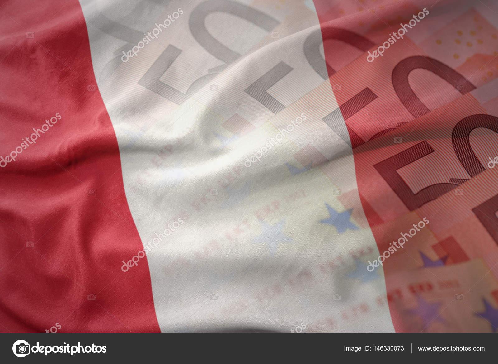 Kleurrijke wapperende vlag van peru op een euro geld bankbiljetten kleurrijke wapperende vlag van peru op een euro geld bankbiljetten achtergrond financin concept stockfoto thecheapjerseys Images