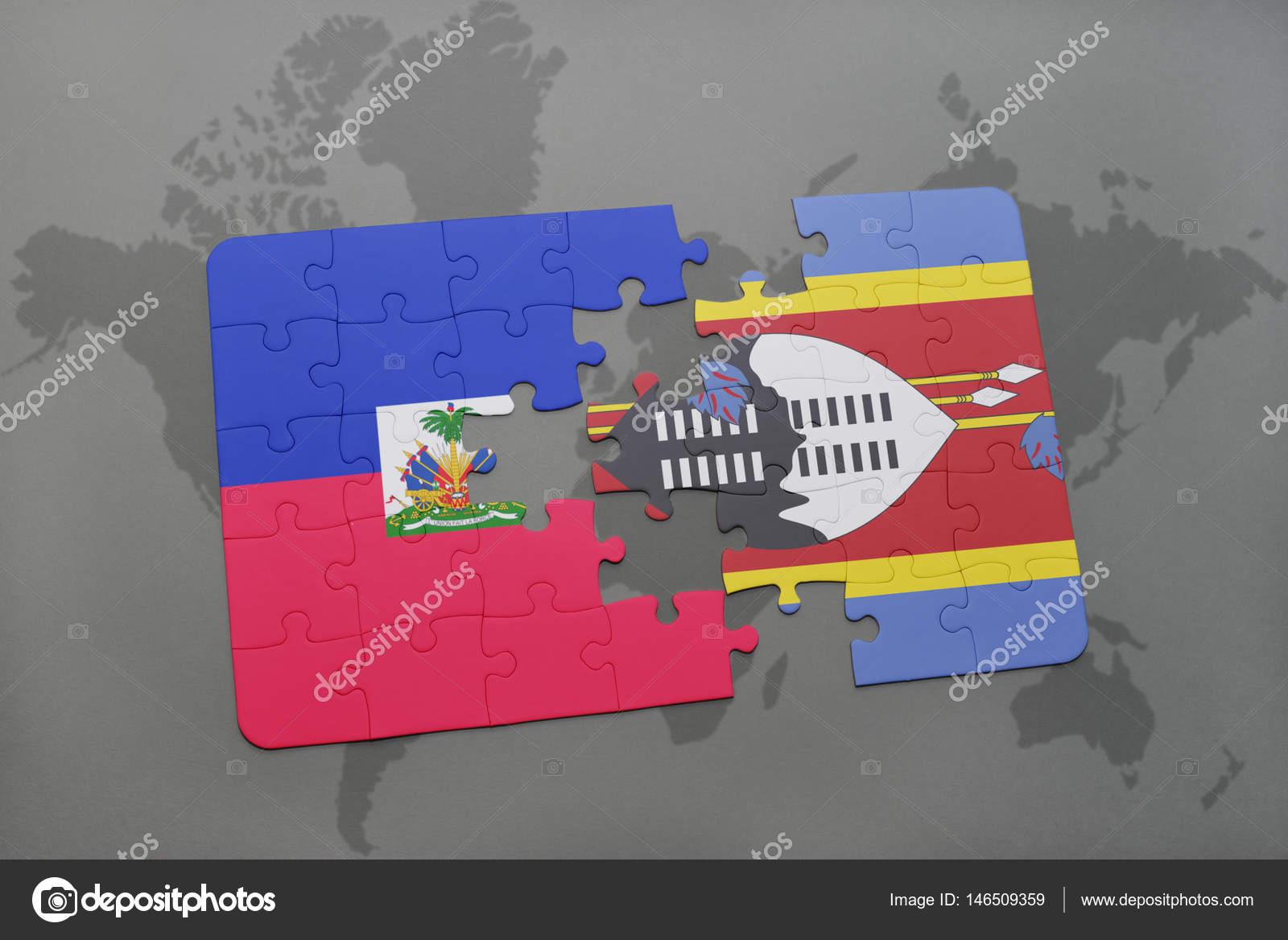 Puzzle S Statni Vlajka Svazijsko A Haiti Na Mape Sveta Stock