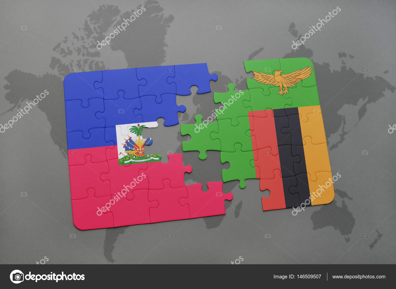 Puzzle with the national flag of haiti and zambia on a world ...