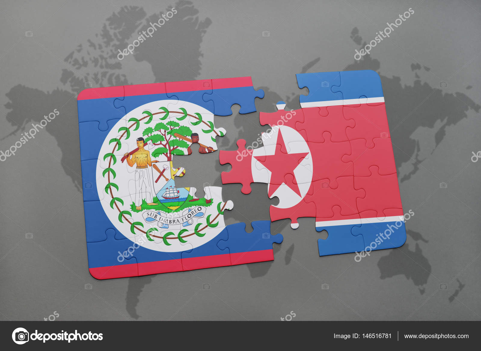 Puzzle with the national flag of belize and north korea on a world puzzle with the national flag of belize and north korea on a world map stock gumiabroncs Images