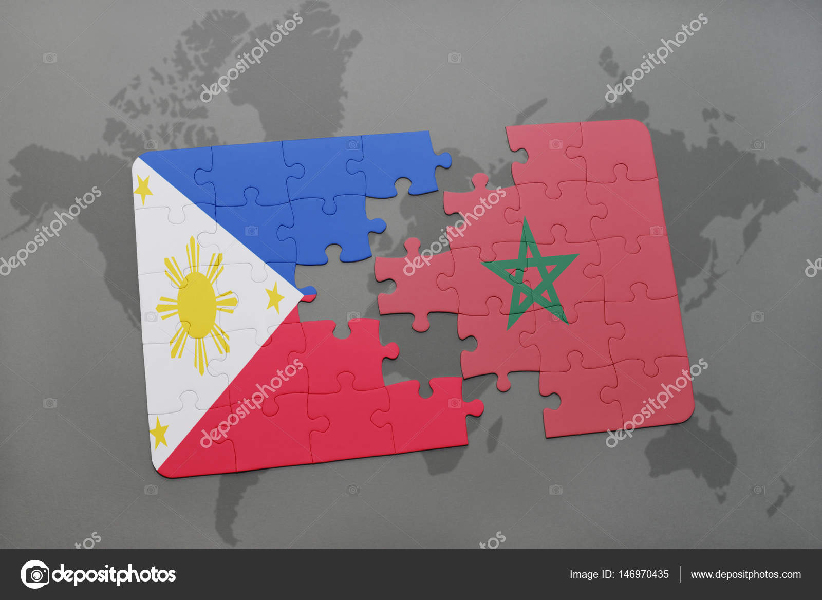 Puzzle with the national flag of philippines and morocco on a world puzzle with the national flag of philippines and morocco on a world map stock photo gumiabroncs Image collections