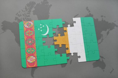 puzzle with the national flag of turkmenistan and cote divoire on a world map