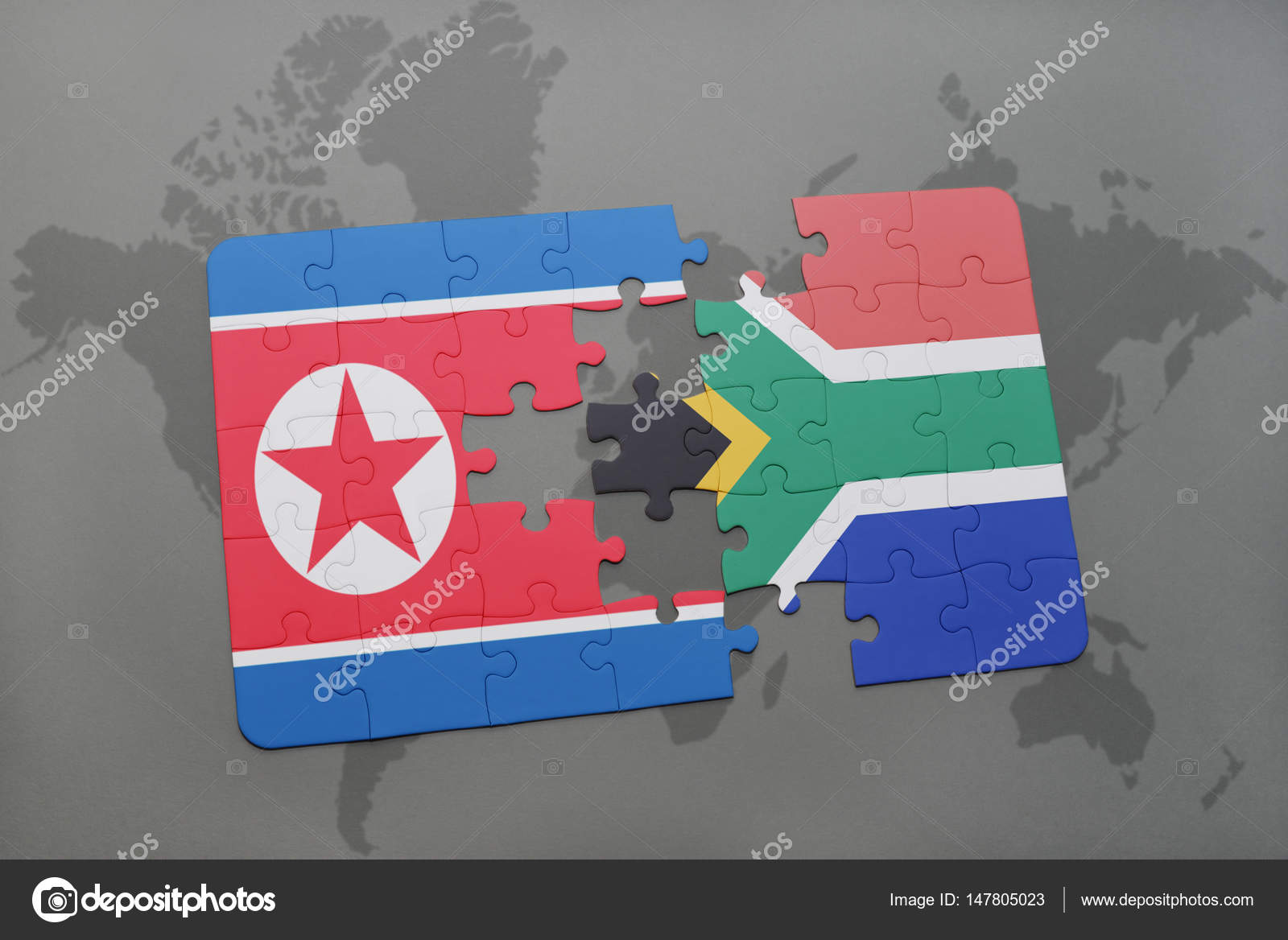 Puzzle with the national flag of north korea and south africa on a puzzle with the national flag of north korea and south africa on a world map gumiabroncs Image collections