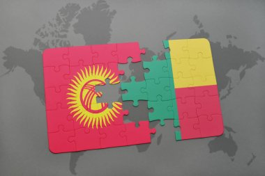 puzzle with the national flag of kyrgyzstan and benin on a world map