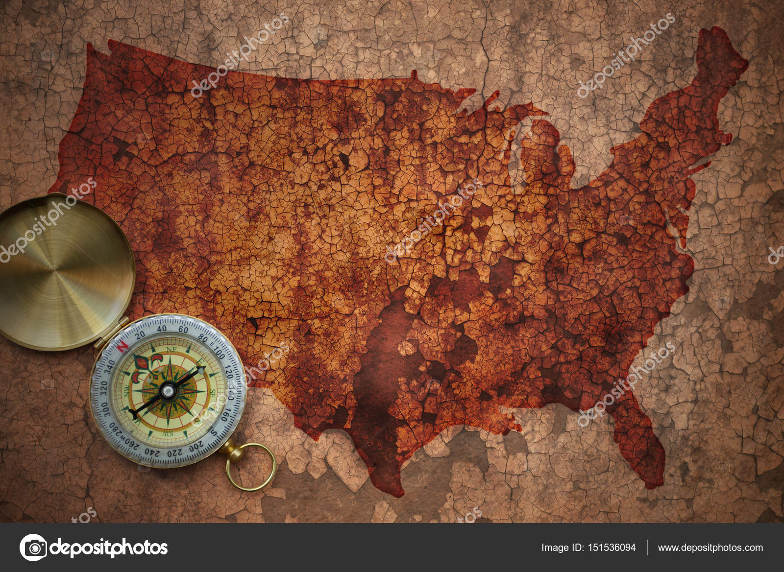 Map of united states of america on a old vintage crack paper ...