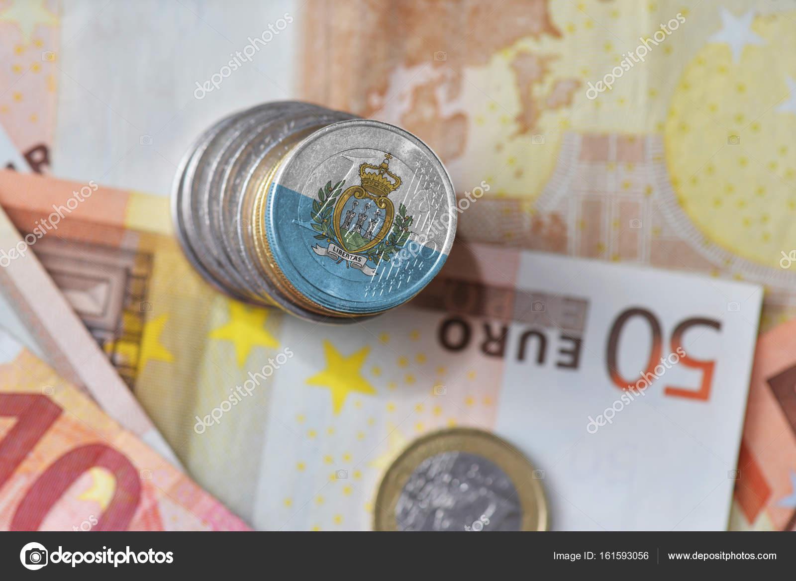 Euro Münzen Mit Nationalen Flagge Von San Marino Auf Dem Euro Geld