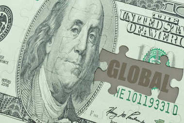 puzzle with the dollar banknote and the text global.