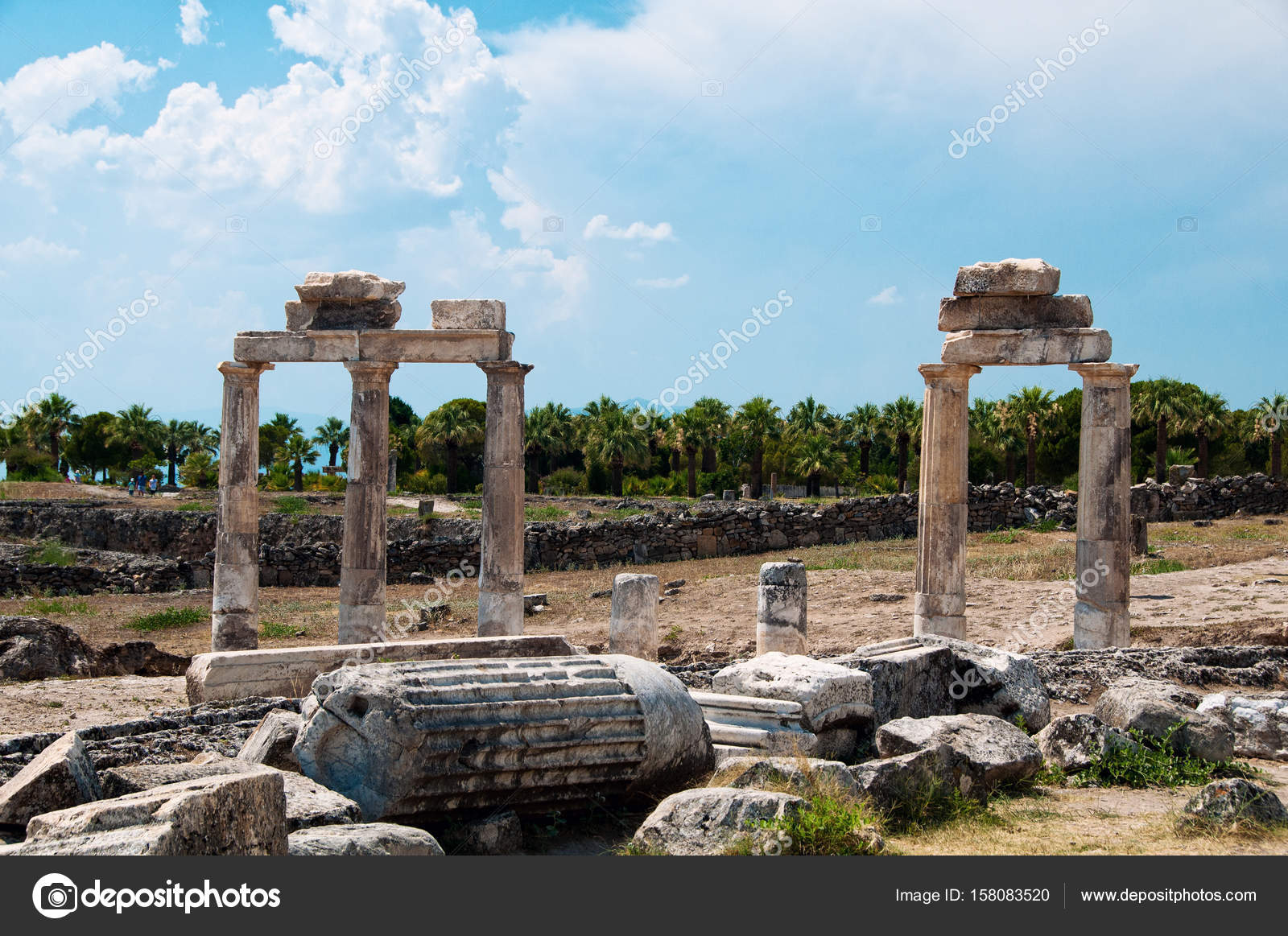 Ruins And Old Buildings In Hierapolis Ancient City Adjacent To