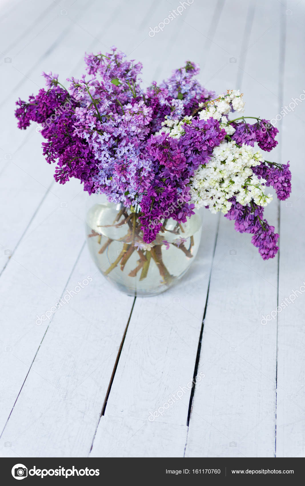 A bouquet of fresh lilac flowers in a glass vase on a wooden floor ...