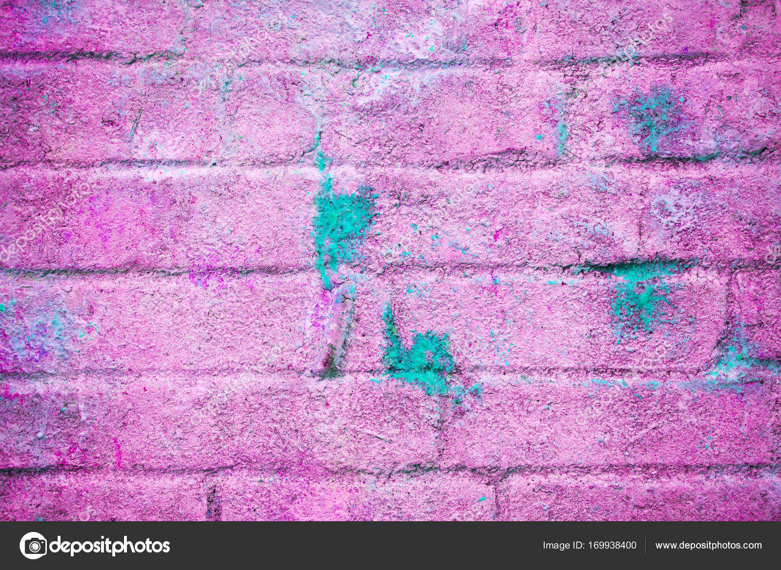 Background And Wallpaper Or Texture Pink Brick Wall With Stains Of Blue Paint Photo By Yarkovoy