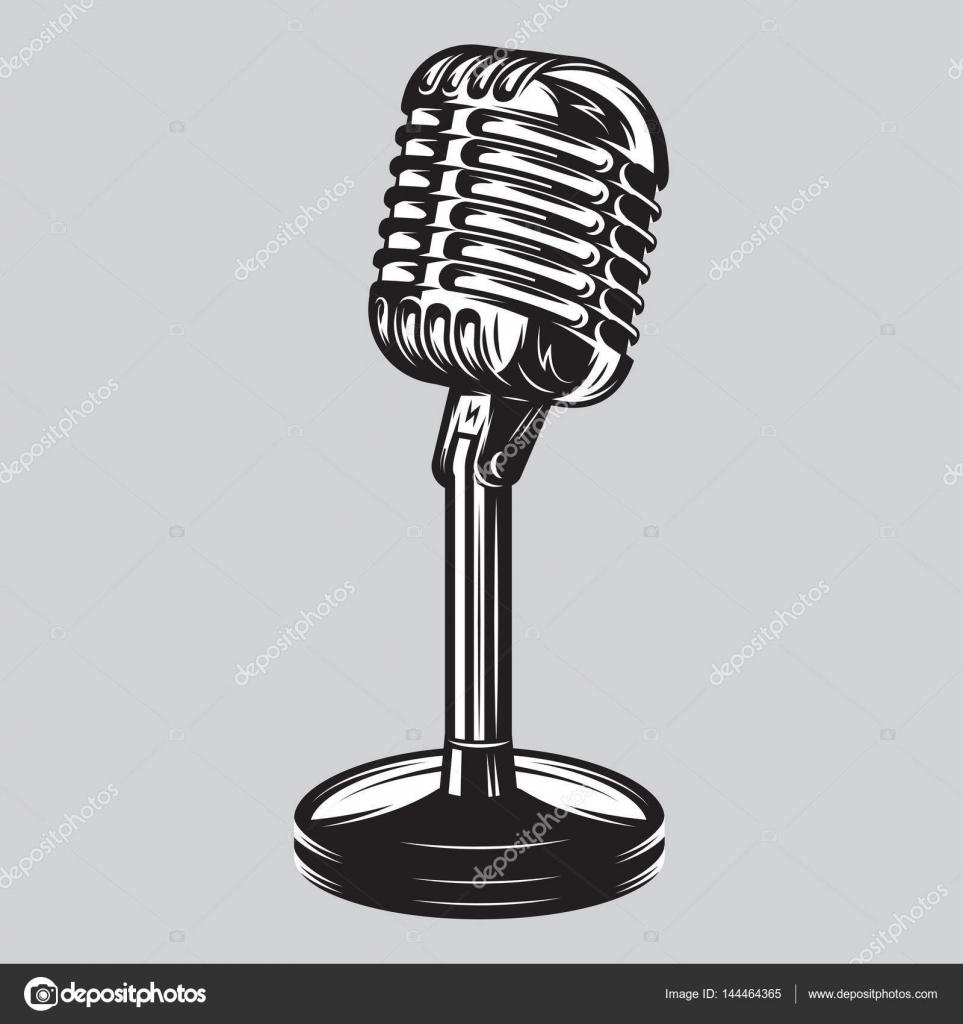 vector illustration poster of isolated retro vintage microphone stock vector. Black Bedroom Furniture Sets. Home Design Ideas