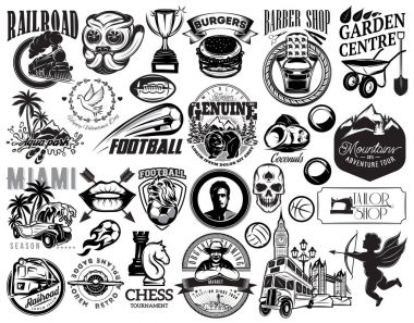 Set of vector monochrome illustrations for design of various subject