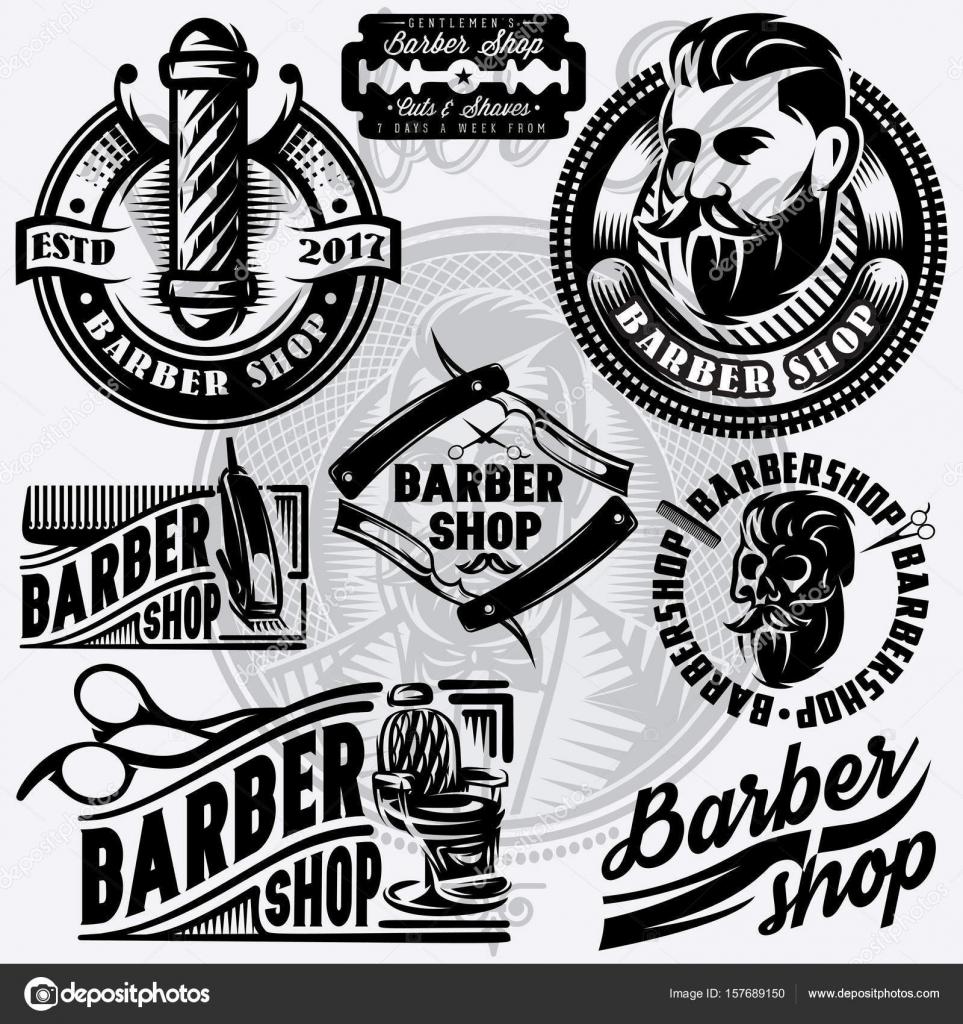 Reihe von Vorlagen für Barbershop. Barbershop-Logo, Vektor ...