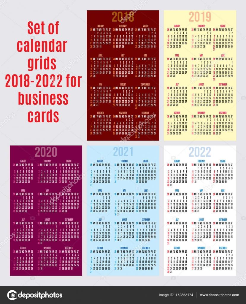 Jeu De Grille Calendrier Des Annees 2018 2022 Pour Cartes Visite Vectorielles Illustration Stock