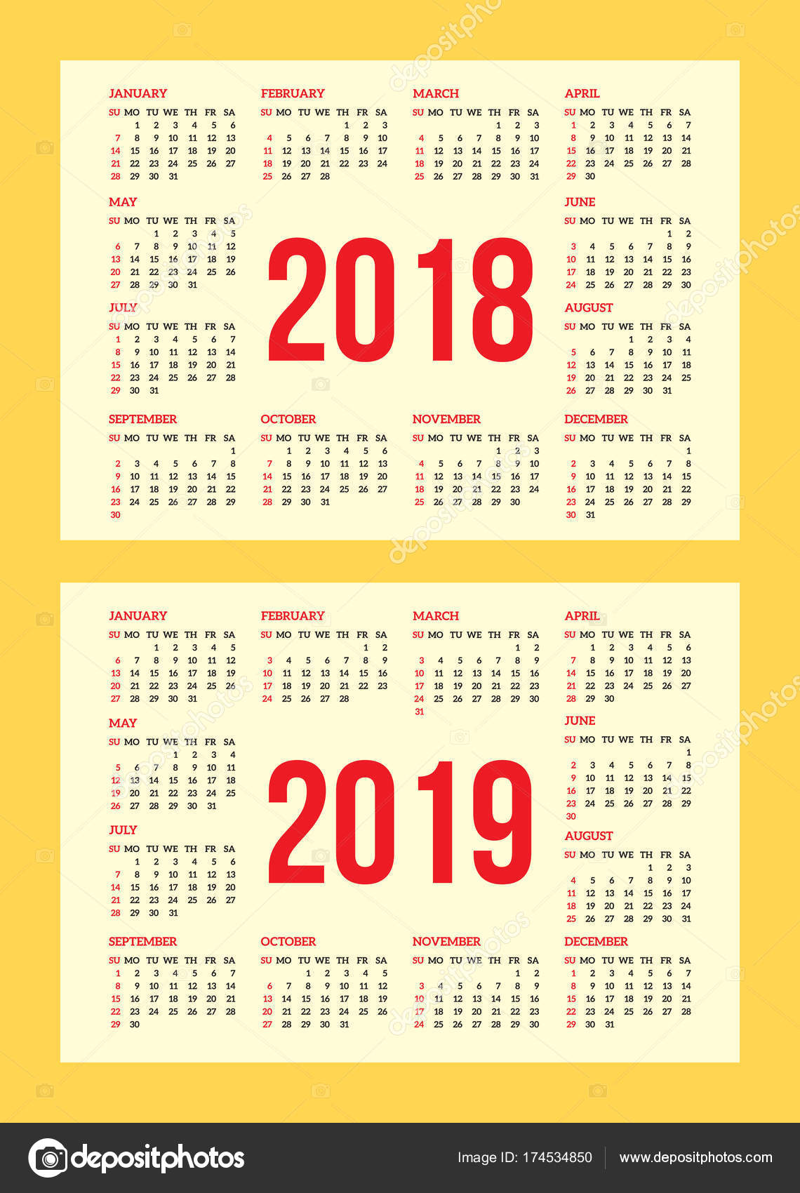 Vector set of calendar grid for years 2018 2019 for business cards vector set of calendar grid for years 2018 2019 for business cards on background colourmoves