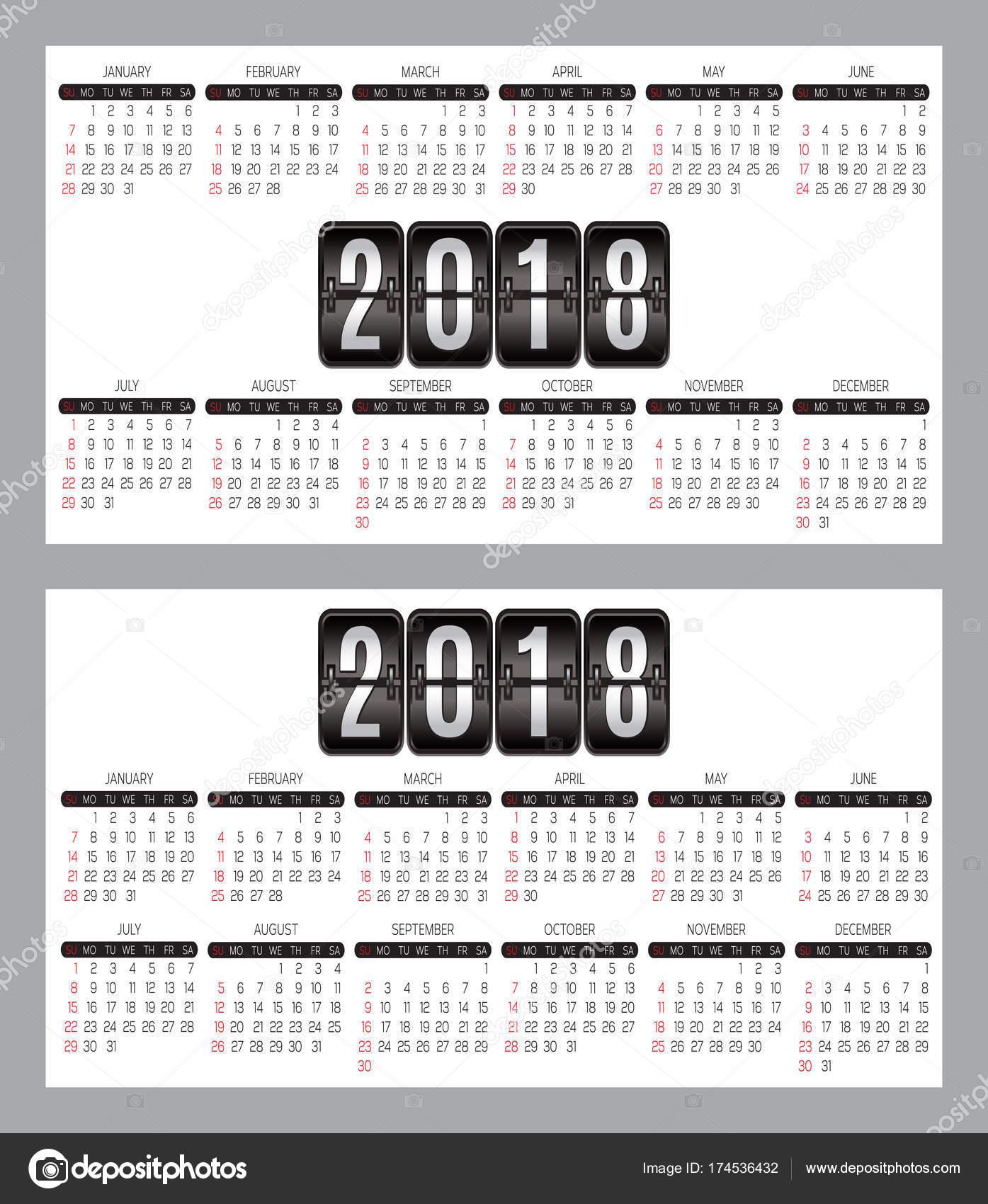 Jeu De Grille Calendrier Des Annees 2018 2019 Pour Cartes Visite Sur Fond Vectorielles Illustration Stock