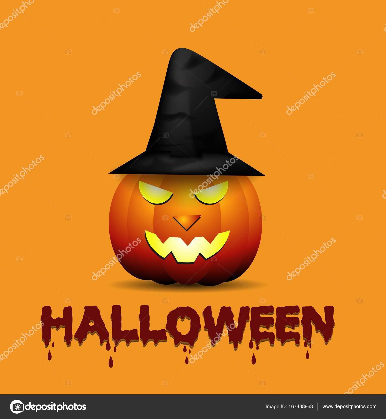 Dibujos animados Halloween calabaza con sombrero de bruja — Archivo  Imágenes Vectoriales a538da97553