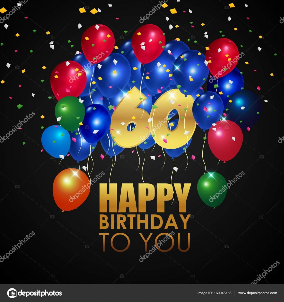Happy Birthday 60th With Golden Number And Colorful Balloons Stock