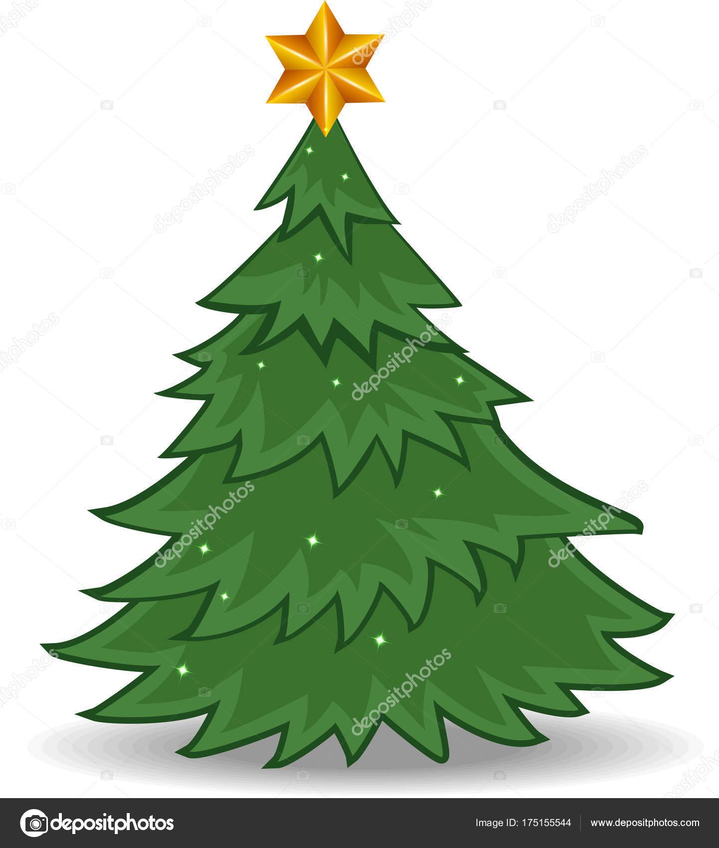 Desenho Árvore Natal Com Estrela Ouro