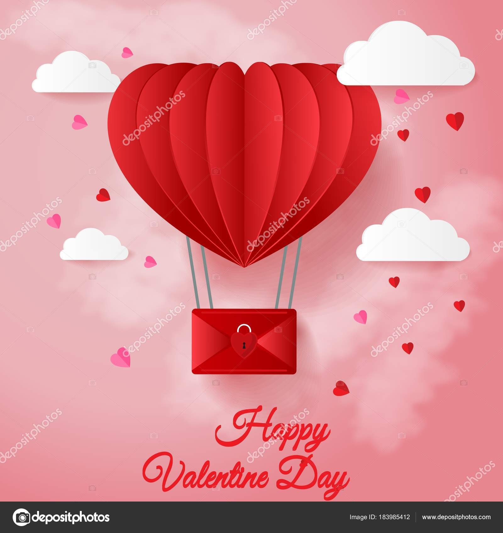 Happy valentines day greetings card paper cut red heart shape happy valentines day greetings card paper cut red heart shape stock vector kristyandbryce Choice Image